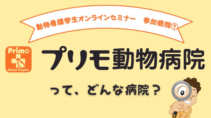 10/3(日)19:30 動物看護学生オンラインセミナー ご参加企業 プリモ動物病院グループってどんな病院!?